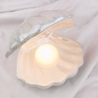 Ins Japanese Style Ceramic Shell Pearl Night Light Streamer Mermaid Fairy Lamp For Bedside Home Decoration Xmas Gift