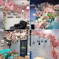 Decorative Flowers & Wreaths Artificial Cherry Tree Wedding Bedroom Wall Flower Pipe Ceiling Decoration Rattan Blossom Branches