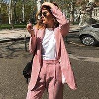 Sonbahar ve Kış Blazer Kadın Moda Izgara Desen Ceket Pembe Iş Ceket Ofis Lady Kadınlar Yüksek Kaliteli Ince Kadınlar Takım Elbise Blaz Tops