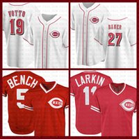 Cincinnati Beyzbol Jersey Reds Özel 19 Joey Votto 5 Johnny Bench 27 Matt Kemp 14 Pete Rose 11 Barry Larkin 30 Ken Griffey Jr Nick Senzel