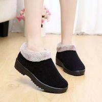 Boots Shoes Woman Fleece Winter Warm Women's Cotton Thick Bottom Non-Slip Casual Home Bag Heel Luxury Designer Fashion