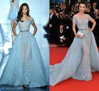 Zuhair Murad 2019 Sky Blue Lace Formal Celebrity Evening Dresses With Detacahbke Short Sleeves Sequined Red Carpet Prom Party Gowns Custom