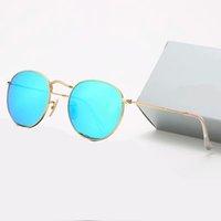 2021 klassisch design marke runde sonnenbrille uv400 brillen metall gold rahmen brille männer frauen spiegel glas linsen sonnenbrasse mit box 9 farbe