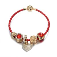 Beaded, Strands Leather Rope Red Bracelet KC Gold Beaded Love Pendant Hand DIY Jewelry