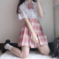 Clothing Sets Women's JK Japan High Waist Pleated Skirt Suit Uniforms Large Size Female Student Cross Dress Cosplay Performance