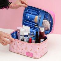 Bolso cosmético de las señoras PU Cuero Portátil Bolsa de almacenamiento Organizador Makup Caja de joyería de mano de gran capacidad nuevo Una bolsa 210226