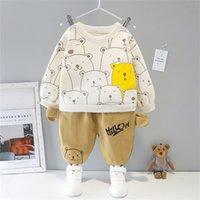 HYLKIDHUOSE Toddler Infant Newborn Clothes 2020 Winter Baby Girls Boys Clothing Sets Children Kids Bear Warm Plush Tops Pants X0401