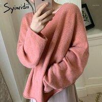Syiwidii Sweater Femmes Femme 2020 Casual Cold Hiver Vêtements à manches longues Rose Tricoté Japonaise Fashion Coréen Tops New1