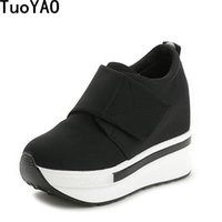 Dress Shoes Fashion Spring Women Platform 7CM High Heels Autumn Thick Sole Sneakers Woman Deportivas Mujer Red Black Wedge Pumps