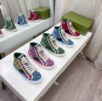 2021 Luxus Designer Stiefel Tennis 1977 Sneaker Leinwand Luxurys Schuh Beige blau gewaschen Jacquard Denim Frauen Ass Gummisohle Gestickte Vintage-Schuhe