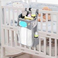 Babybett Hängende Aufbewahrungstasche mit Nachtlicht Krippe Organizer für geborene Windel Taschen Säuglingsbettwäsche Krankenpflege
