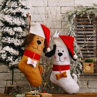Christmas Stocking Embroidered Dog with Santa Hat Pattern Xmas Tree Hanging Pendant Ornament Gift Bag GWB10600