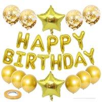All'ingrosso lettera foglio palloncini felici festa di compleanno festa in oro oro argento blu rosa alluminio palloncino