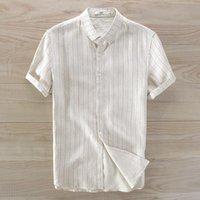 Herrenwäsche Kurzarm gestreiftes Hemd Lose Beiläufige Flachs Männer Marke Atmungsaktiv Hemden Männliche Camisa Masculina 3XL
