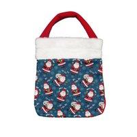Christmas Gift Bag Printed Snowman Cartoon Portable Small Pocket for Decoration