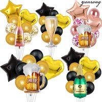 Party Dekoration Metallic 40 Zoll Champagner Ballons Happy Birthday Black Gold Latex Dekorationen Bier Rosegold Babyshower Aluminium Folie groß