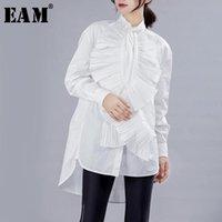 [EAM] Женщины белые оборки плиссированные большие размеры блузка стенд воротник с длинным рукавом свободная подходит рубашка мода весна осень 2021 JY77 женские блузки