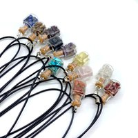 Handmade Natural Crystal Stone Glass Bottle Pendant Necklaces For Women Men Lovers Party Jewelry With Rope Chain