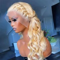 613 Honey Blonde Color Brazilian Human Hair Wigs 250% Density Body Wave Transparent Synthetic Lace Front Wig For Women