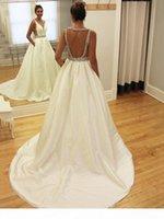 Gelinlik A-Line Backless Mat Saten Düğün Dressess Özel Made Gelin Kıyafeti Vestido de Noiva