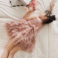 Summer Kids Dresses For Girls Tutu Fluffy Cake Smash Dress Elegant Princess Party Wedding Dress Girl Birthday Clothing 3 8Y 2361 V2