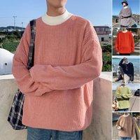 Men's Sweaters Korean Fashion Sweater Men 2021 Autumn Patchwork Fake Two Piece Street Wear Solid Color Mock Neck Knit