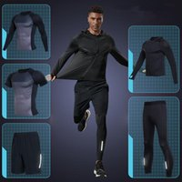 Vansydical Mens Sports Running Sets Compression Gym Tight Suits Quick Dry Fitness Training Jersey Sets