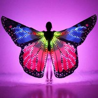 Full Women Belly Wings Halloween Stage Girl LED Light Butterfly Costume Rainbow Color Dance Glowing Cloak Props