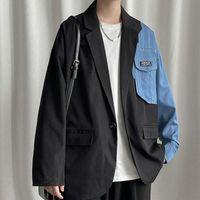 Men's Suits & Blazers Men Winter Harajuku Patchwork 2021 Mens Japanese Streetwear Causal Blazer Male Vintage Korean Style Jackets 5XL