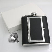 5oz 6oz Dual Use Stainless Steel Hip Flasks Whisky Stoup Drinkware Outdoor Portable Liquor Wine Pot With Cigarette Case Drinkwares ZC253