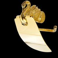 Portabanco della carta igienica Accessori per il bagno Vidric Set Golden Colour Swan Portabull Porta rotolo, Sapone / Gancio / Asciugamano Bar / Supporto per spazzole MB-0969A