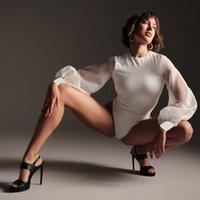 2021 Donne primavera Body Body White Maglia Vedi attraverso manica Patchwork Sexy O-Collo Slim Elegante Elegante Ufficio Lady Body Tuta