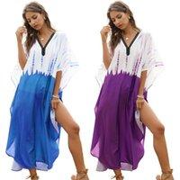 Casual Kleider Frauen Badeanzug Cover Up Kontrastfarbe Muslim Kaftan Batwing Sleeve Strandkleid 83xf