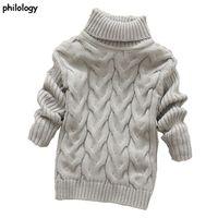 Philologie 2T-8T Reine Farbe Winter Jungen Mädchen Kind dicke gestrickte Botting Rohstoffhemden Hemden Feste High Collar Pullover Pullover 210909