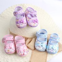 First Walkers Born Baby Girl Boy Shoes Bowknot Print Anti-slip Casual Toddler Daliy Cotton Fabric High Quality