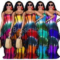섹시 민소매 여성 긴 맥시 드레스 패션 넥타이 염료 포켓이있는 느슨한 슬링 드레스 숙녀 여름 캐주얼 의류 837
