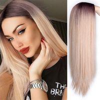 Ombre longas perucas loiras sintéticas para as mulheres parte média cinza natural azul azul perucas cosplay preto
