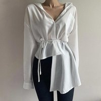 Women's Blouses & Shirts Long-sleeved Shirt Spring Summer Solid Sashes Irregular Slim Sexy Woman Tee Female Tops Blouse PL044
