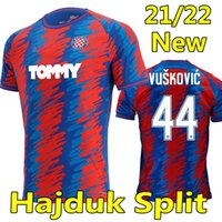 21/22 Hajduk Split Jerseys de futebol HNK fora vermelho Bule 2021 2022 Simic Livaja Vuskovic Bluk Eduuok Camisas de futebol Homens Uniforme
