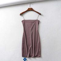 resort Casual Dresses Summer women's elastic double dermatological band flat mouth slim dress