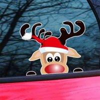 Рождественские окна наклейки воды водонепроницаемый наклейки наклейки автомобиля наклейки автомобиля Xmas Party на стенах на стене лотый олень мультфильм бочонок стеклянные пасты орнаменты G974C1G