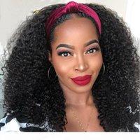 Kinky Kıvırcık Yarım Peruk Kafa Bandı İnsan Saç Siyah Kadınlar Için Kinky Kıvırcık Bandı Peruk Uygun Fiyatlı Doğal Saç Peruk 150% Yoğunluk