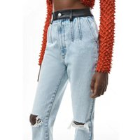 Fashion womens ripped straight jeans designer casual casual pencil pant trend hip-hop washed old stitching pants factory wholesale