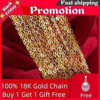 Chains Genuine 18K White Yellow Rose Gold Chain Cost Price Sale Pure Necklace Gift For Women [G1001]