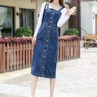 Casual Dresses Women Denim Dress Spring Autumn Spaghetti Strap Jeans Single-breasted Long Overalls Sundress
