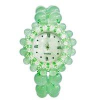 Novelty Jewelry Women Wristwatch Green Jade Bracelet Aventurine Quartz Band Girls Watch Birthday Anniversary Gift