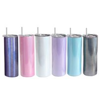 20oz Sublimation Glitter Straight Tumblers with plastic straw 5 colors Stainless steel water bottles double insulated cup vacuum beverage cups A13