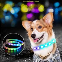 11 Colors LED Dog Collar Cuttable ABS Tube Magic Strip Light USB Rechargeable Colorful Flashing Glowing Luminous Safety for Pets 210911