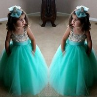 Bonito Turquesa Verde Flor Meninas Vestidos Espaguete Vestidos de Aniversário Correias Cristal Frisado Tule Criança Grapeant Vestidos Para Meninas
