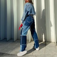 Women's Pants & Capris Patchwork Women Skinny High Waist Cotton Jeans Y2k Harajuku Sportswear Pockets Cargo Joggers 90s Skater Trousers